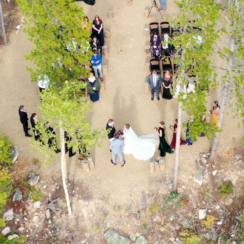 Overhead view of the forest grove wedding ceremony area